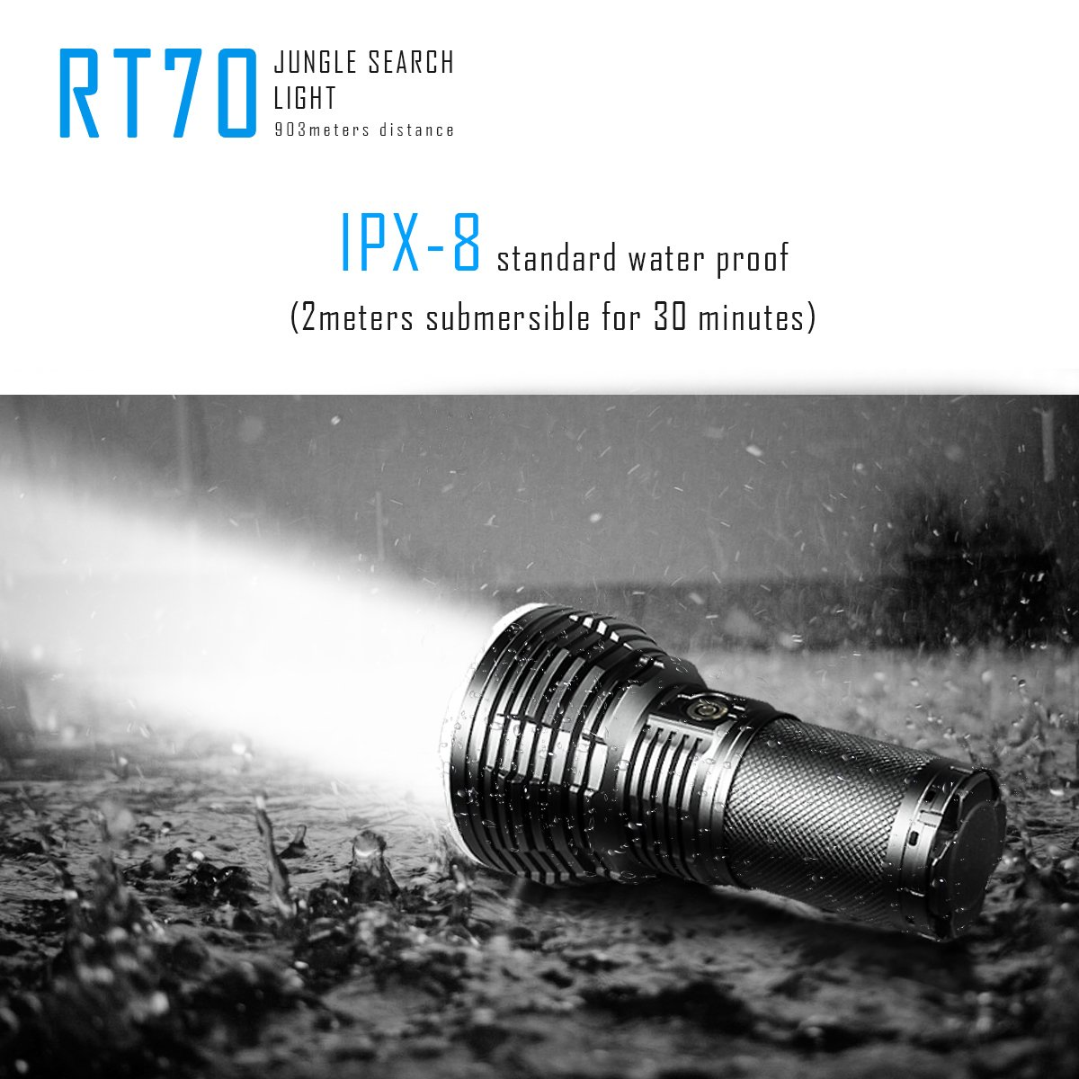 IMALENT RT70 Flashlight 5500 Lumens CREE XHP70 2nd Generation LEDs Rechargeable Flashlight Portable One Hand Torch USB Magnetic Charged 18650 Battery Include