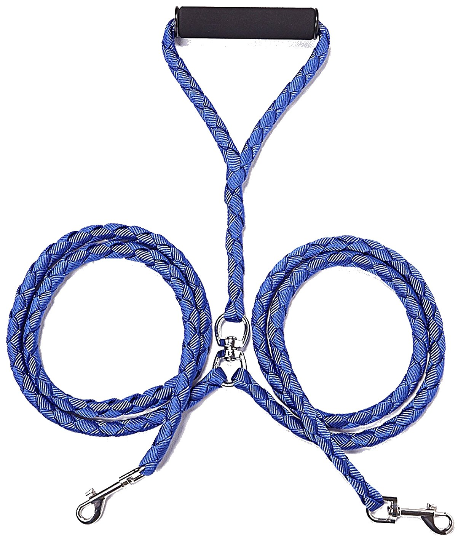 EXPAWLORER Double Dog Leash No-Tangle Dual Leash for Two Dogs Blue