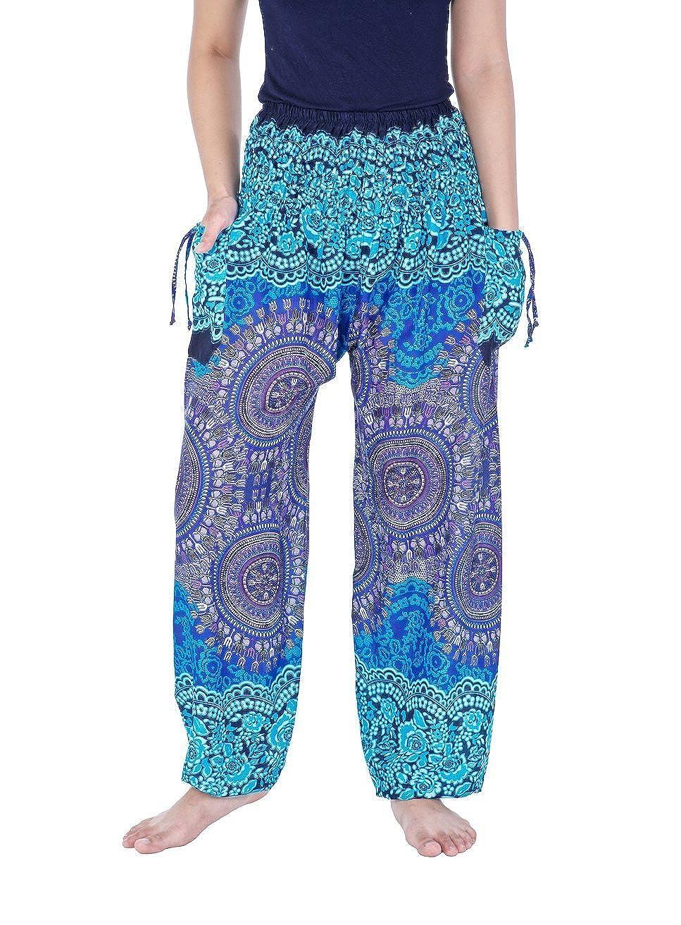 bluee Lannaclothesdesign Women's Smocked Waist Printed Loose Fit Yoga Harem Pants