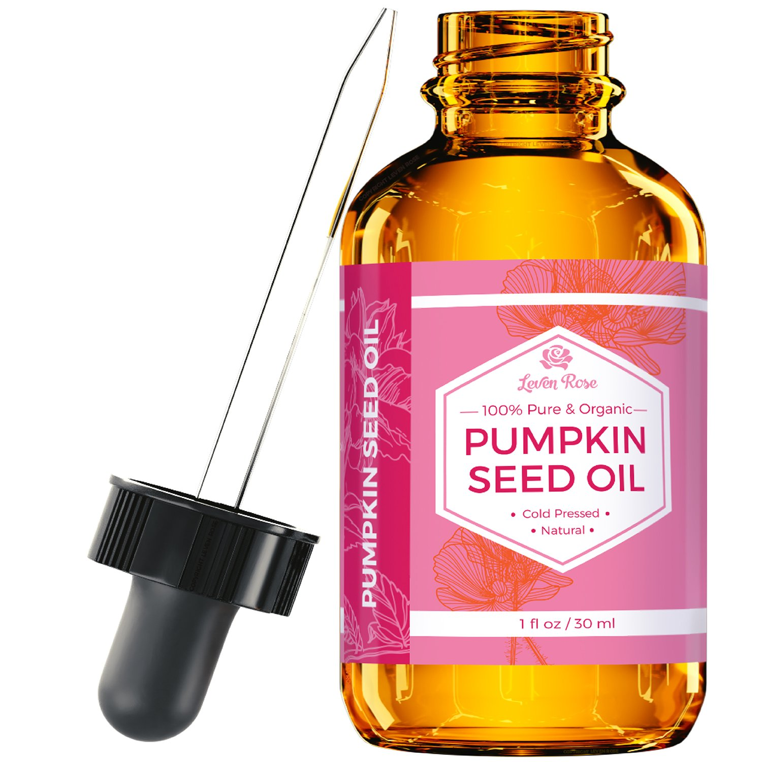 Pumpkin Seed Oil By Leven Rose, 100% Pure Cold Pressed Natural Moisturizer for Dry Hair Rough Skin and Nails 1 oz