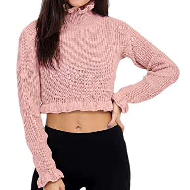 b3a4cd8daffb34 MIXLOT New Women Ladies Cropped Knitted Round Polo Roll Neck Ruffle Frill  Hem Long Sleeve Jumper Top  Amazon.co.uk  Clothing