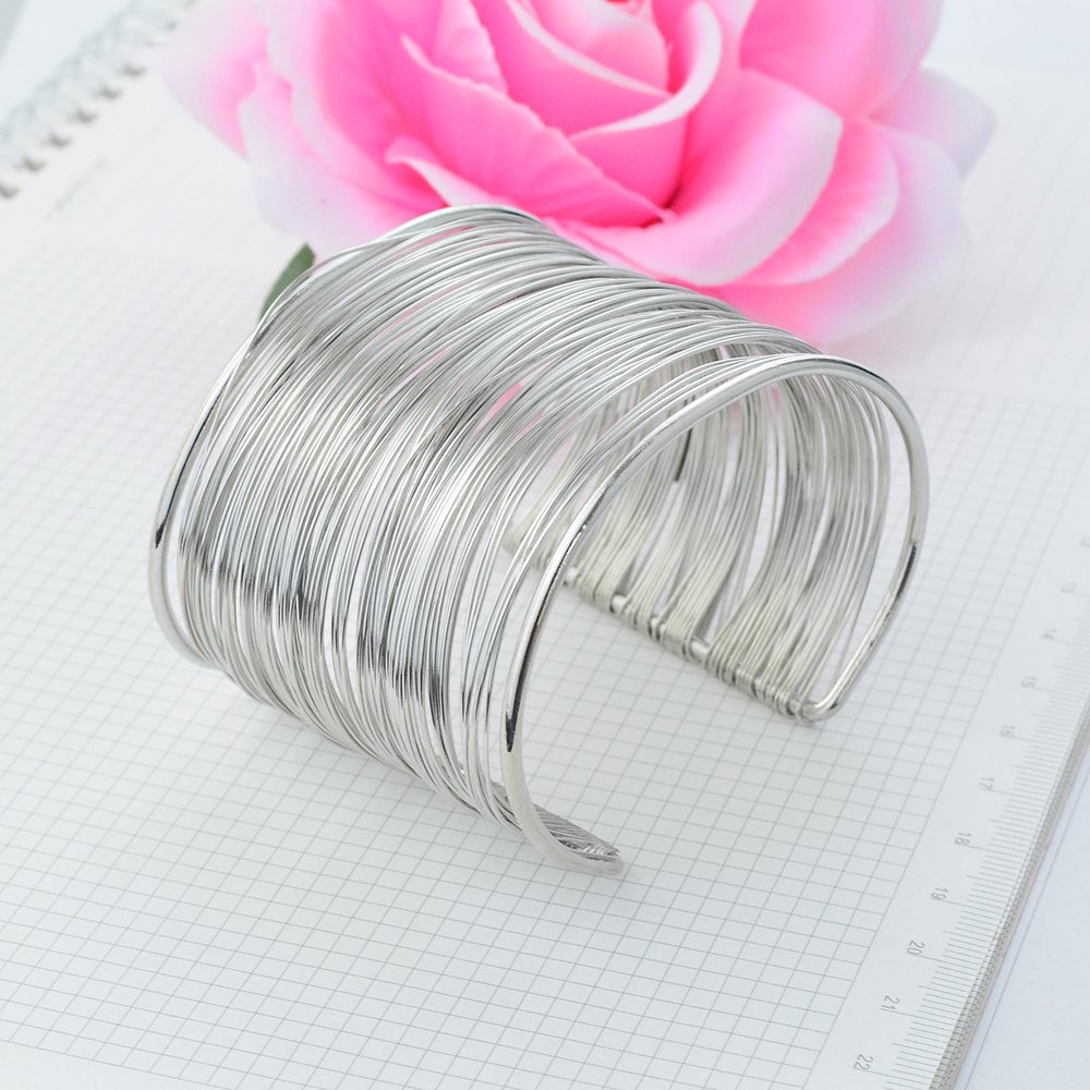 baotongle Silver Bracelets, Vintage Exotic Style or Hippie Style Memory Wire Metal Circle Split Ring Coil Thin Wire Adjustable Jewellery Bangles
