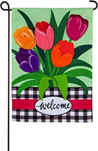 Evergreen Flag Indoor Outdoor Décor for Homes Gardens and Yards Welcome Spring Tulips Garden Applique Flag
