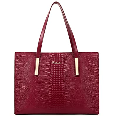 BOSTANTEN Leather Handbag Shoulder Tote Top Handle Bag for Women on Clearance Wine Red