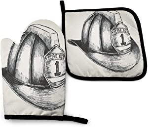 Judascepeda Oven Mitts and Pot Holders Sets Sketch Style Illustration of A Firefighter Symbol of The Fire Department Oven Mitts Heat-Resistant Kitchen Set