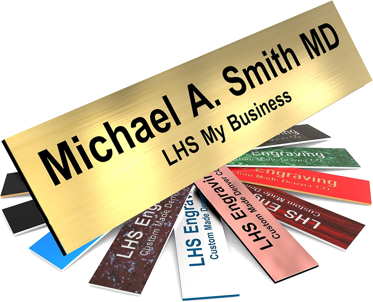 LHS My Business | Engraved Name Plates for Door Sign Personalized Brushed Brass Plastic Plaque with Black Letters | 2x8 - M6