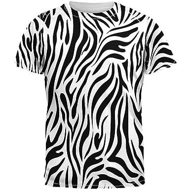 44b11609 Amazon.com: Zebra Print White Sublimated Adult T-Shirt: Clothing
