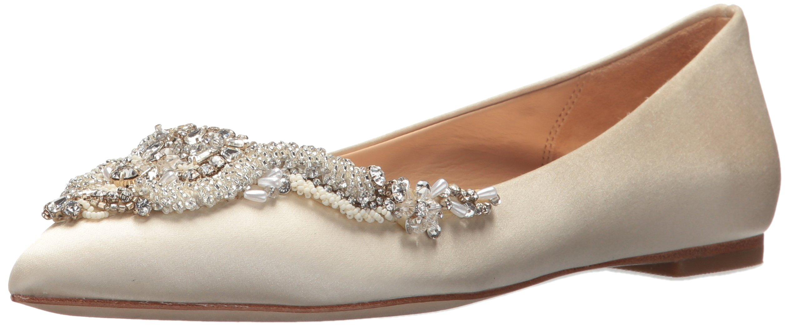 Badgley Mischka Women's Malena Ballet Flat, Ivory, 9 M US