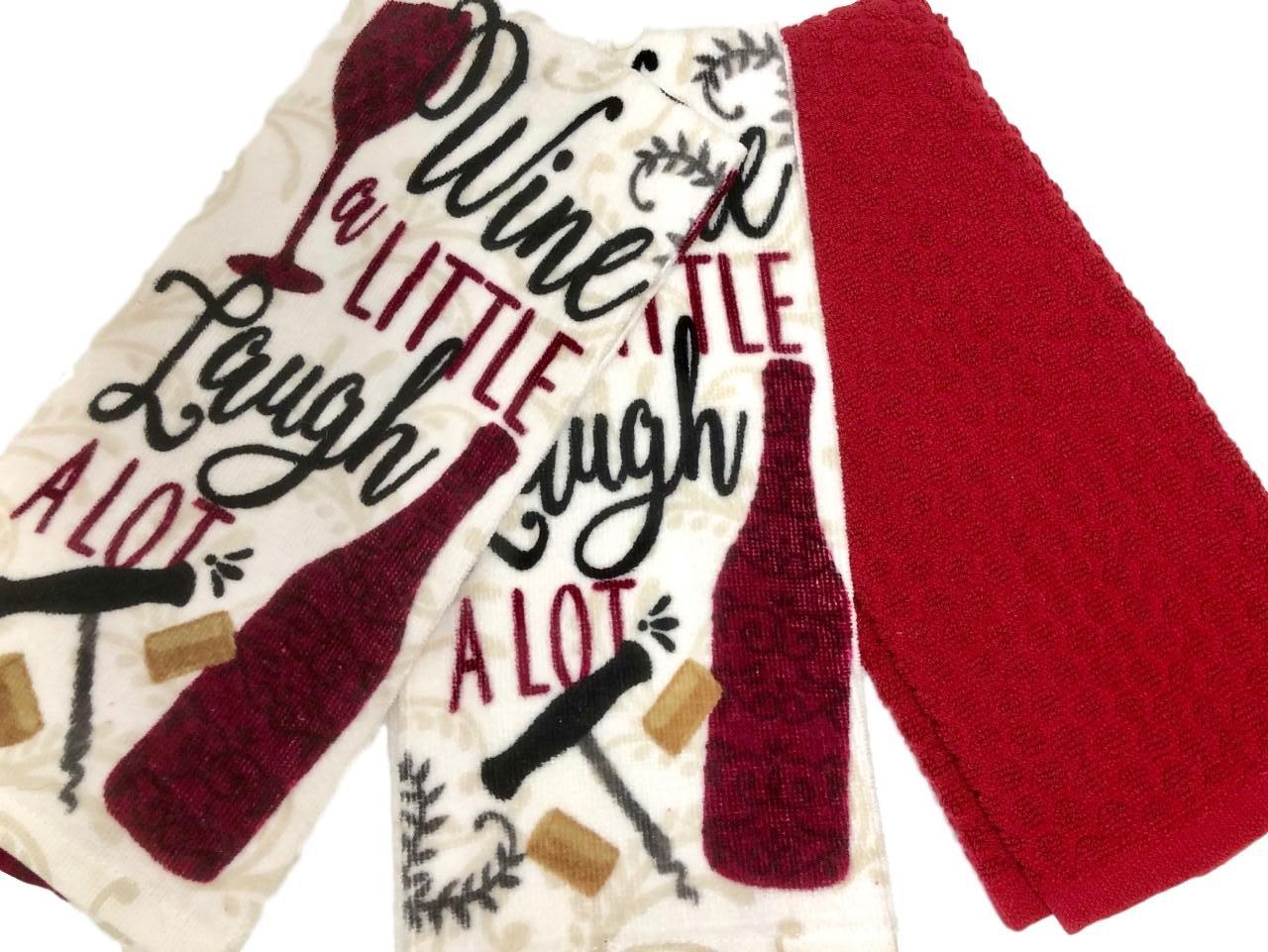 Combined Brands Wine a Little Laugh a Lot! Bundle of Three 100% Cotton Kitchen Towels (Burgundy Wine)