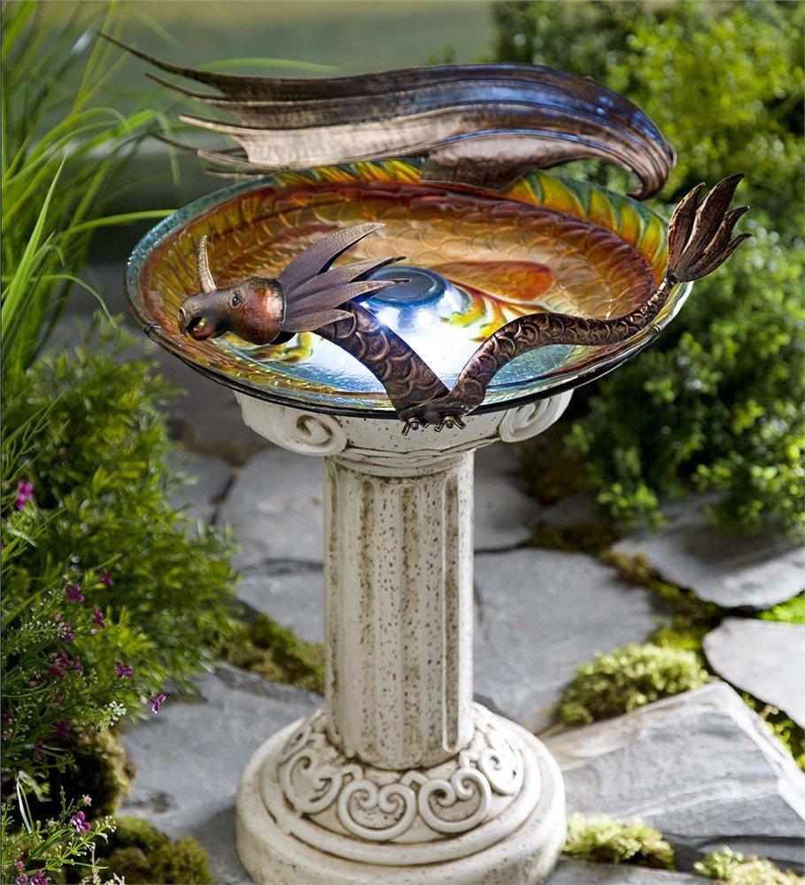 Solar Lighted Dragon Birdbath