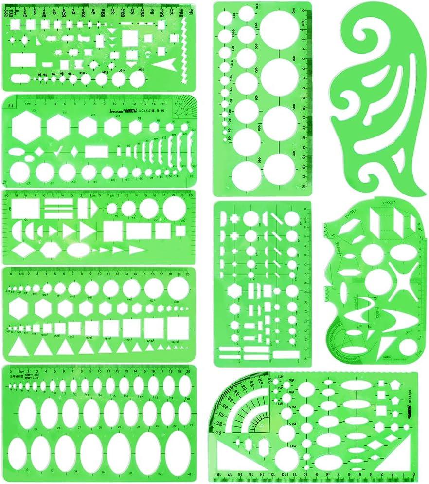 10 Piezas que Miden Plantillas de Plástico Plantillas Circulares Plantillas de Dibujo Geométrico Construcción de Diseño de Joyería Reglas de Encofrado Conjuntos de Color Verde Para Oficina y Escuela.