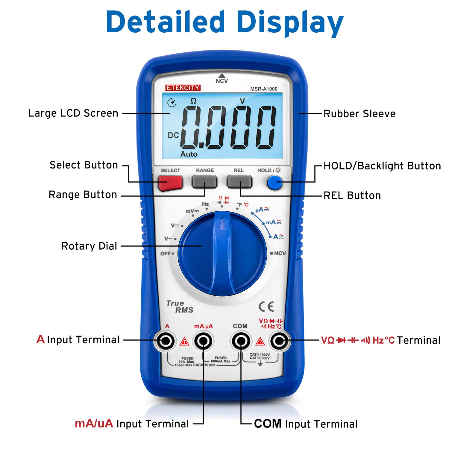 Etekcity Digital Multimeter MSR-A1000, TRMS 6000 Counts Auto-Ranging AC/DC Amp Ohm Voltage Tester Meter with Temperature Frequency Resistance Continuity Capacitance REL Diode Test by Etekcity (Image #4)