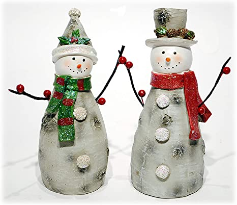 Amazon Com Special T Imports Resin Birch Snowman Figure Set Of 2 8 H Christmas Holiday Decor Home Kitchen