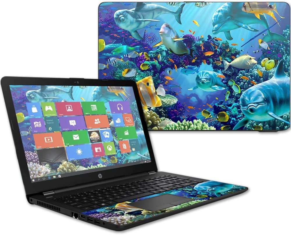 """MightySkins Skin Compatible With HP 15t Laptop 15.6"""" (2017) - Ocean Friends   Protective, Durable, and Unique Vinyl Decal wrap cover   Easy To Apply, Remove, and Change Styles   Made in the USA"""