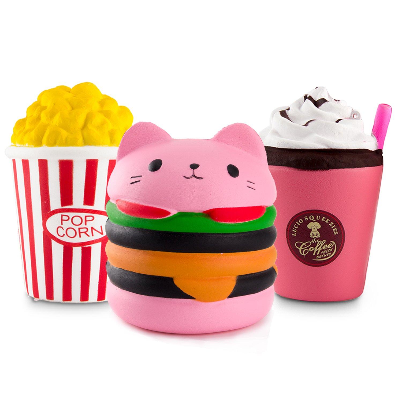 WATINC Kawaii Jumbo 3pcs Hamburger&Popcorn Set Squishy Slow Rising Sweet Scented Vent Charms Kid Toy Hand Toy, Stress Relief Toy , Decorative Props Doll Gift Fun Large (Pink ham&pop Corn)