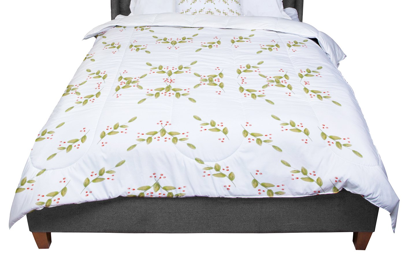 88 X 88 KESS InHouse Jennifer Rizzo Holiday Holly Berries White Green Floral Queen Comforter