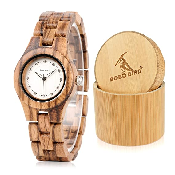 960be668e BOBO BIRD Women Lady Girl Female Watches with Japanese QUARTZ Movement  White Bamboo Shell Hollow Black Pointed Needle Diamond Scale White Dial  bamboo Band ...