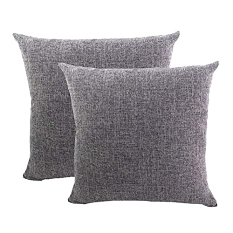 Gspirit Funda cojin 2 Pack Decorativo Algodón Lino Throw Pillow Case Funda de Almohada 45x45cm, Regalo Divertido (Gris)