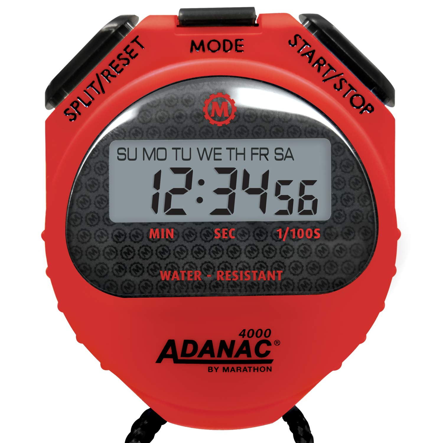 2-Year Warranty Red, 10 Water Resistant MARATHON Adanac 4000 Digital Stopwatch Timer with Extra Large Display and Buttons .