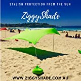 ZiggyShade Family Beach Sunshade – Lightweight Sun Shade Tent with Sandbag Anchors & 4 Free Pegs | UPF50+ UV Quality Lycra Fa
