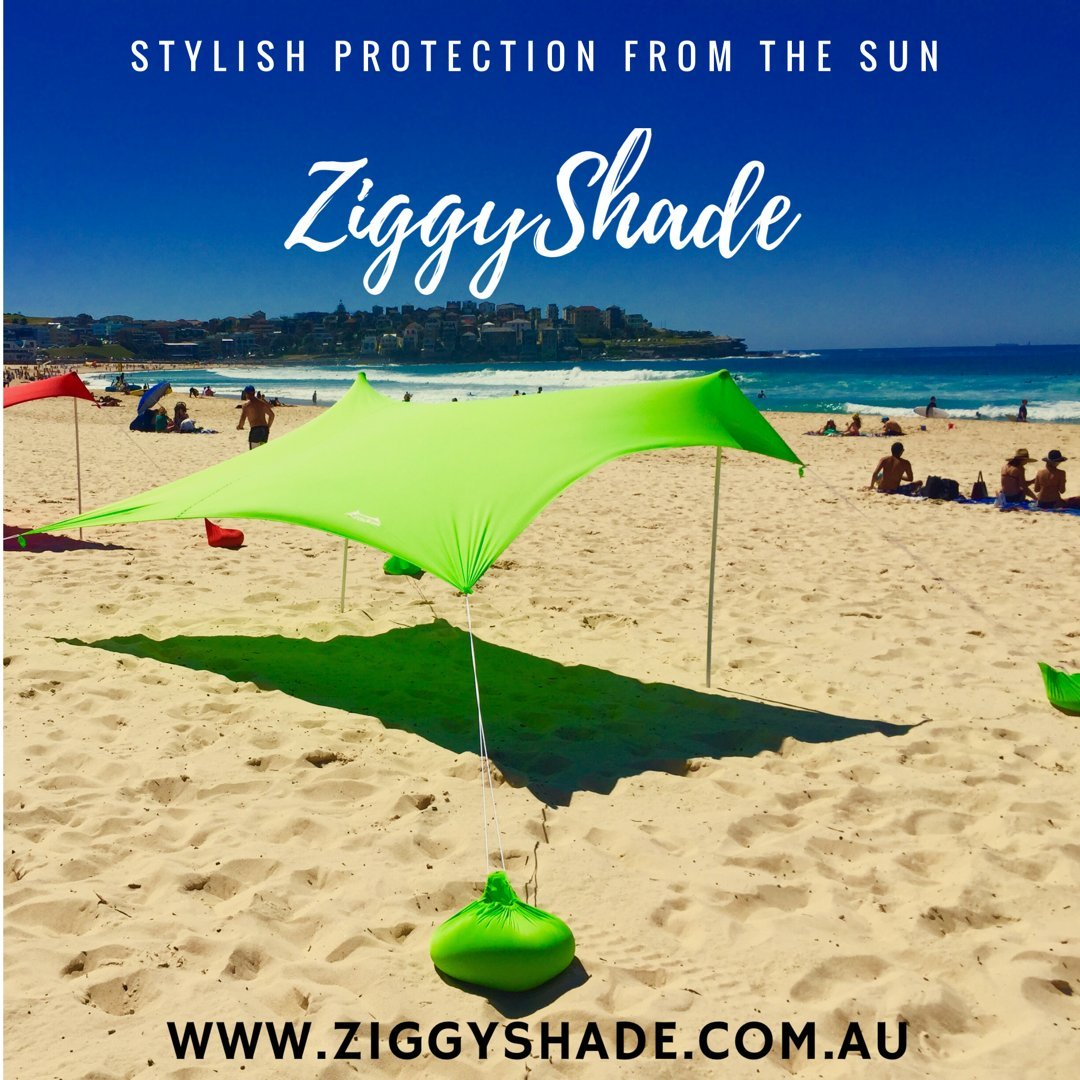 ZiggyShade - Beach Tent - Sun Shade - with Sandbag Anchors - UPF50+ (Jasmine Green, Standard) by ZiggyShade