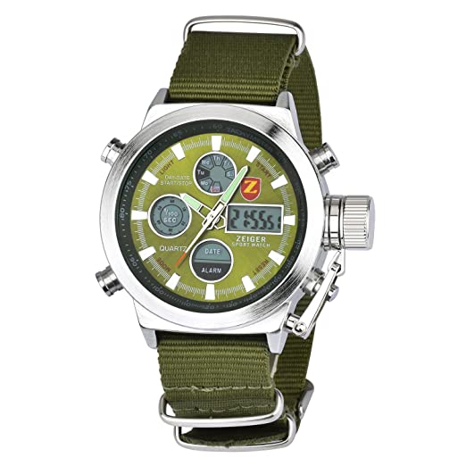 Zeiger W220 - Reloj deportivo para hombre de cuarzo con doble zona horaria, cronometro, alarma y cronografo: Amazon.es: Relojes