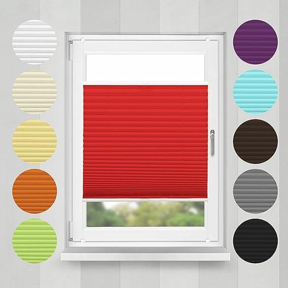 Home-Vision Plissee Faltrollo ohne Bohren mit Klemmträger / -fix (Rot, B95cm x H100cm) Blickdicht Sonnenschutz Jalousie für F