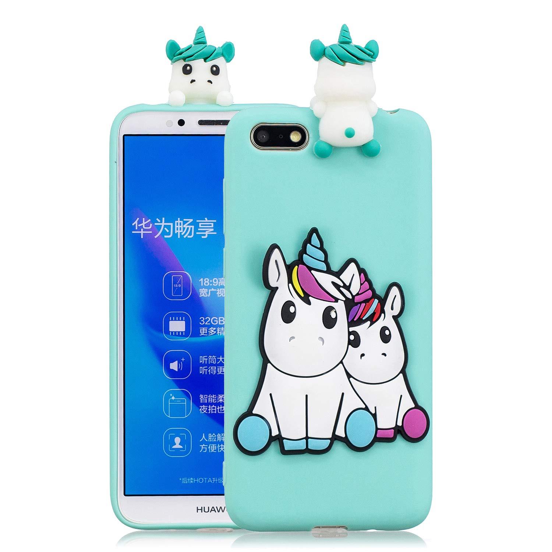 HopMore Coque Huawei Y5 2018 Silicone Souple 3D Design Motif Panda Animal Drô le Mignonne Etui Huawei Y5 2018 É tui Antichoc Ultra Mince Fine Housse Protection pour Fille Femme - Panda Boy