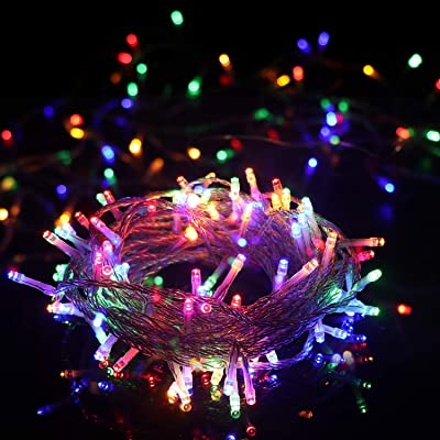 OMGAI LED String Light - 100 LED Plug in Fairy Light 8 Modes with Timer Waterproof 49.2ft 30V Low Voltage Adapter Extendable Perfect for Indoor and Outdoor Decoration Colorful
