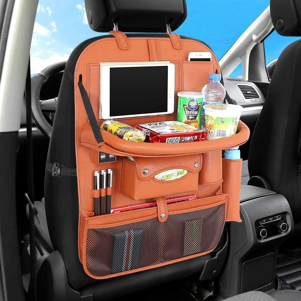2 Packs Car Back seat Organizer with Foldable Table Tray PU Leather Car Back seat Organizer for Babies Toys Storage with Foldable Dining Table Holder Pocket for Baby and Kids