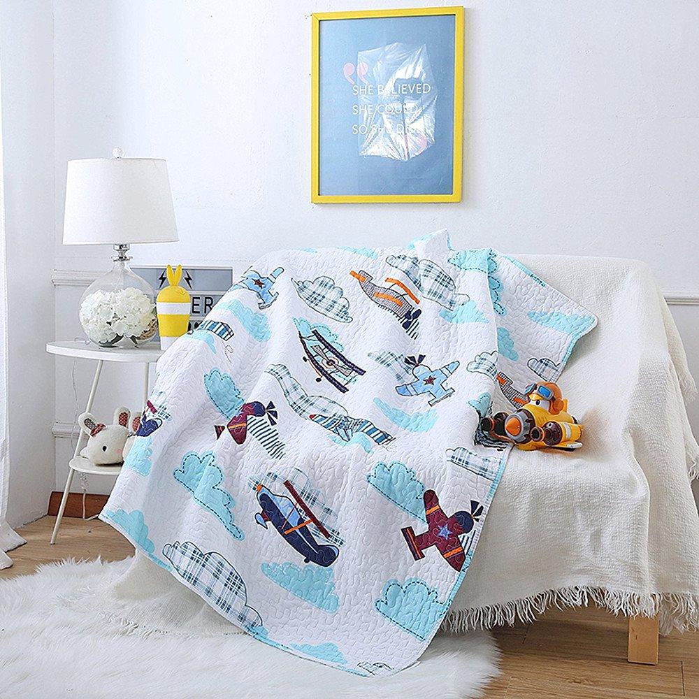 Poowe Twin Size 1 Pcs Quilt Bedspread Kids Plane Airplane Boys Girls Kid's Quilt 43'' X 51''