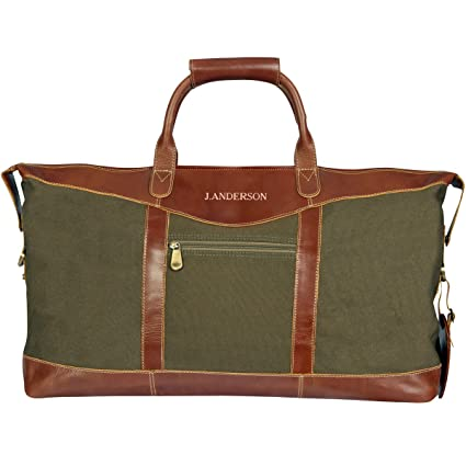 b3d4147d9 Image Unavailable. Image not available for. Color: Personalized Forest Green  Borello Canvas and Leather Weekender Duffel Bag ...