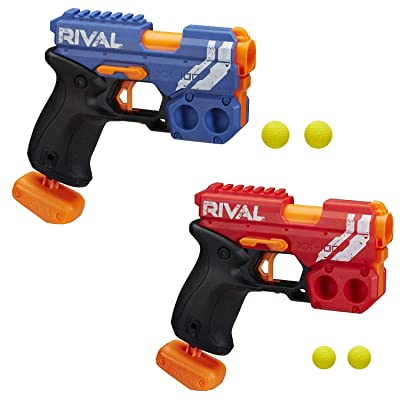 NERF Rival Knockout XX-100 Blaster -- Round Storage, 90 FPS Velocity, Breech Load -- Includes 2 Official Rival Rounds Per Blaster, Blue and Red Bundle: Toys & Games