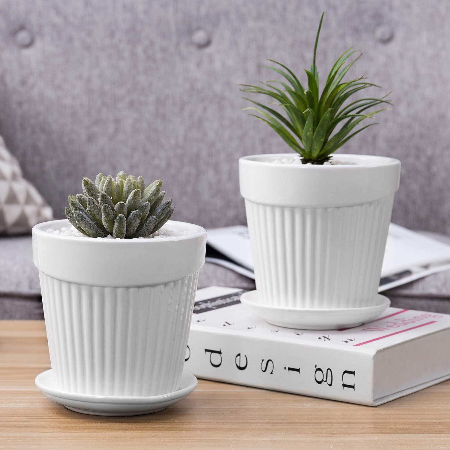 Set Of 2 Small White Decorative Ribbed Ceramic Plant Flower Planter Pot W Attached Saucer Mygift Garden Outdoor