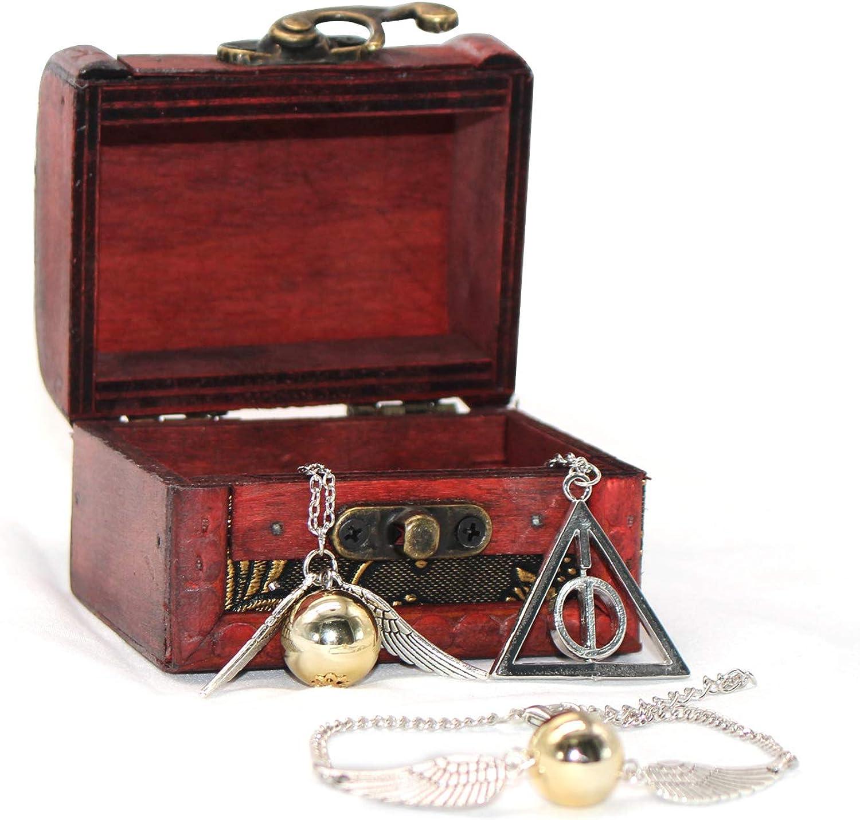 4 UNIDS Harry Potter Inspired Necklace Set Gold Snitch Bracelet ...