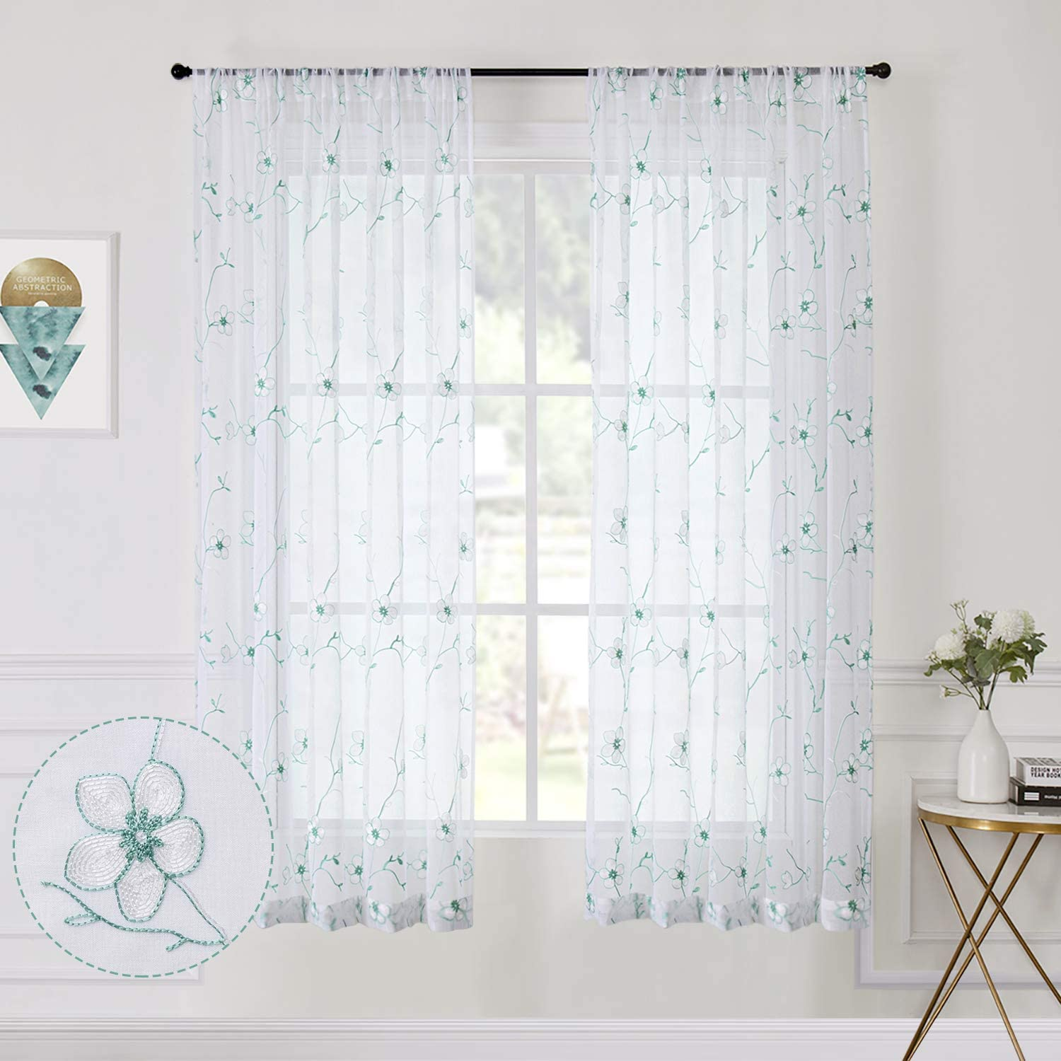 Amazon Com Tollpiz Flower Short Sheer Curtains Aqua Blue White Blossom Embroidery Bedroom Curtain Rod Pocket Voile Embroidered Floral Curtains For Living Room 54 X 45 Inches Long Set Of 2 Panels Home