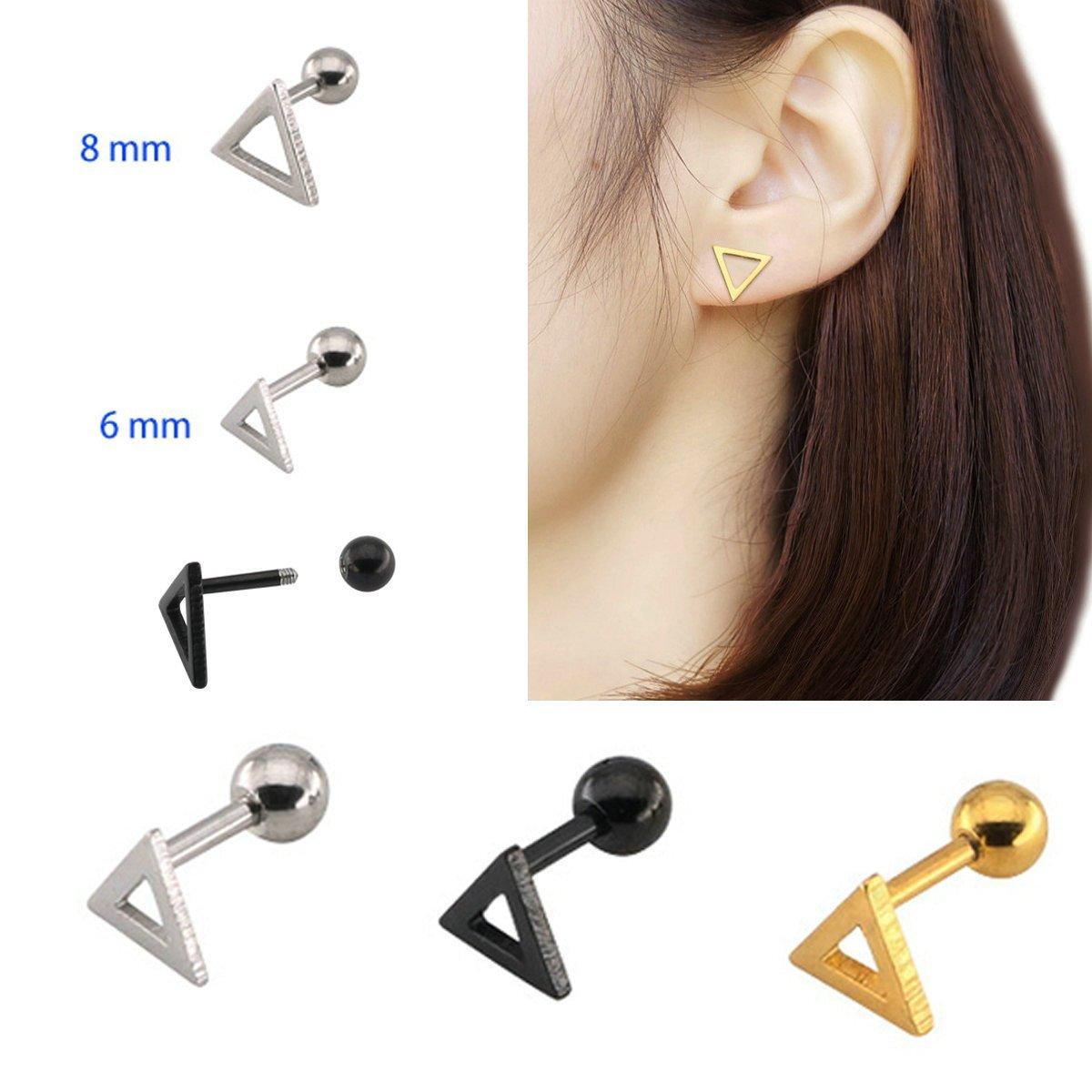 AnaZoz 3PCS Ball Earring Set Stainless Steel Screwback Triangle Stud Earrings Ball Back