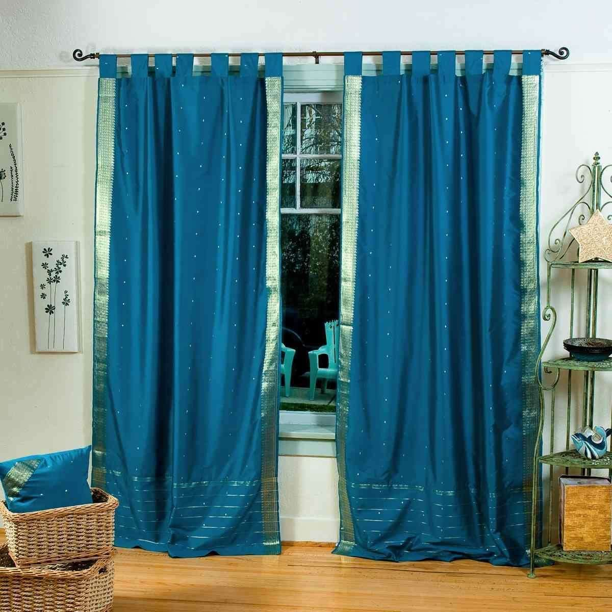 Indian Selections Lined-Turquoise Tab Top Sheer Sari Curtain Drape – 80W x 120L – Piece