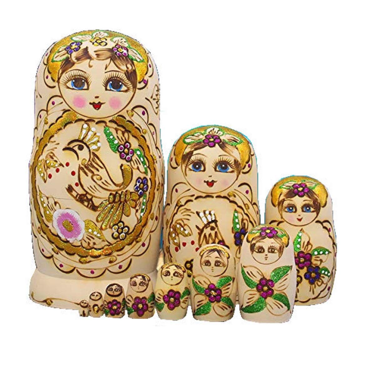 LK King&Light 10pcs Wooden Russian Nesting Dolls Matryoshka Toys(Bird) by LK