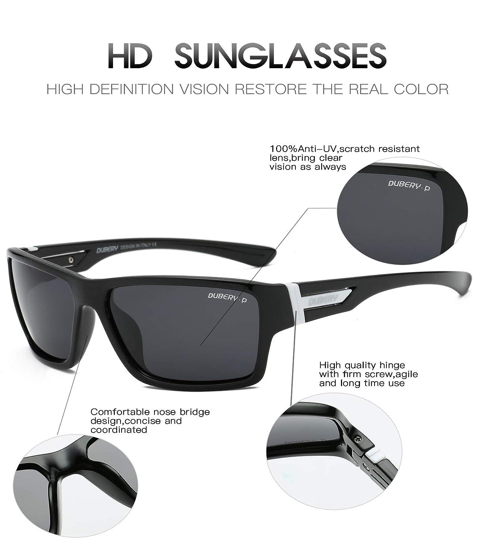 b546e5675301c Amazon.com  DUBERY Polarized Sunglasses Classic 100% UV Protection  Reflective Color Mirror Large Square for Men Women-D2071 (Black Black)   Sports   Outdoors