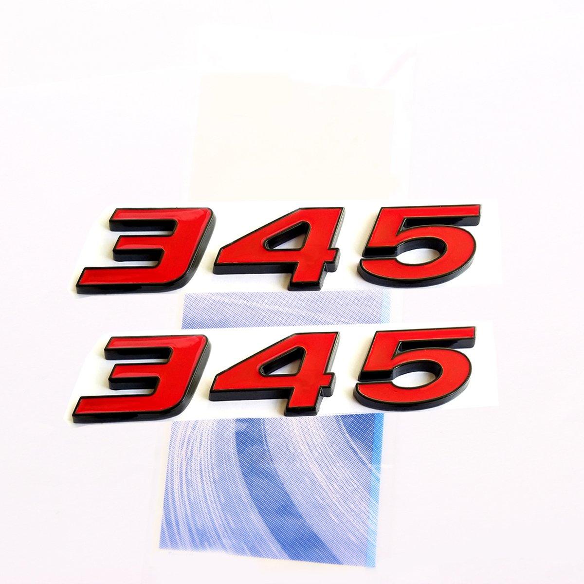 Yoaoo 2pcs OEM Black 345 Emblems Badge 3D for Challenger RAM 345 L1 Red