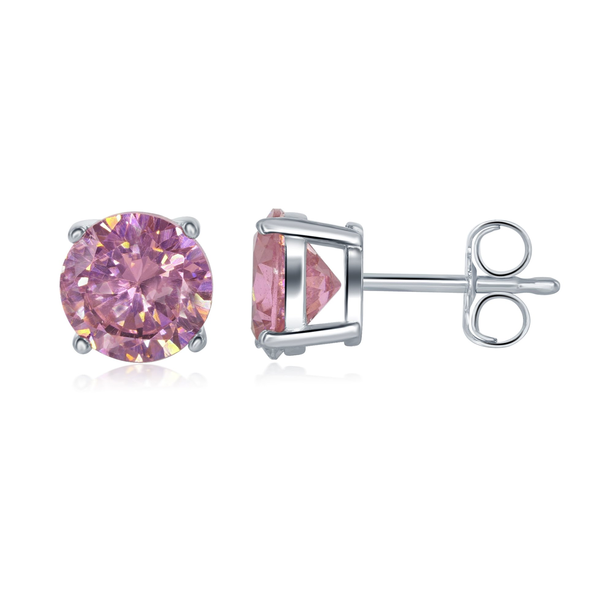 925 Sterling Silver Cubic Zirconia CZ Stud Earrings for Men Women Girls and Babies Butterfly Pushbacks Many Styles/Sizes Available (Pink Cz Stud 6mm)