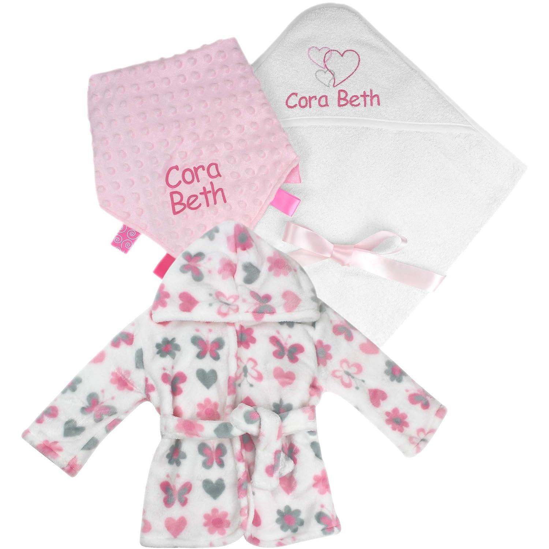 Personalised Gift Set Baby Girl's Hooded Bath Towel, Dressing Gown & Comforter Blanket TeddyTs