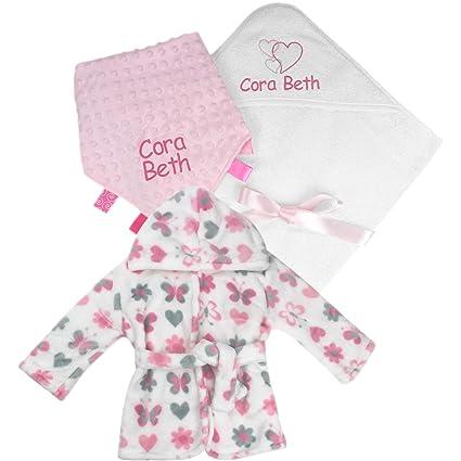 Juego de toalla de baño con capucha personalizable para bebé, niña y chica