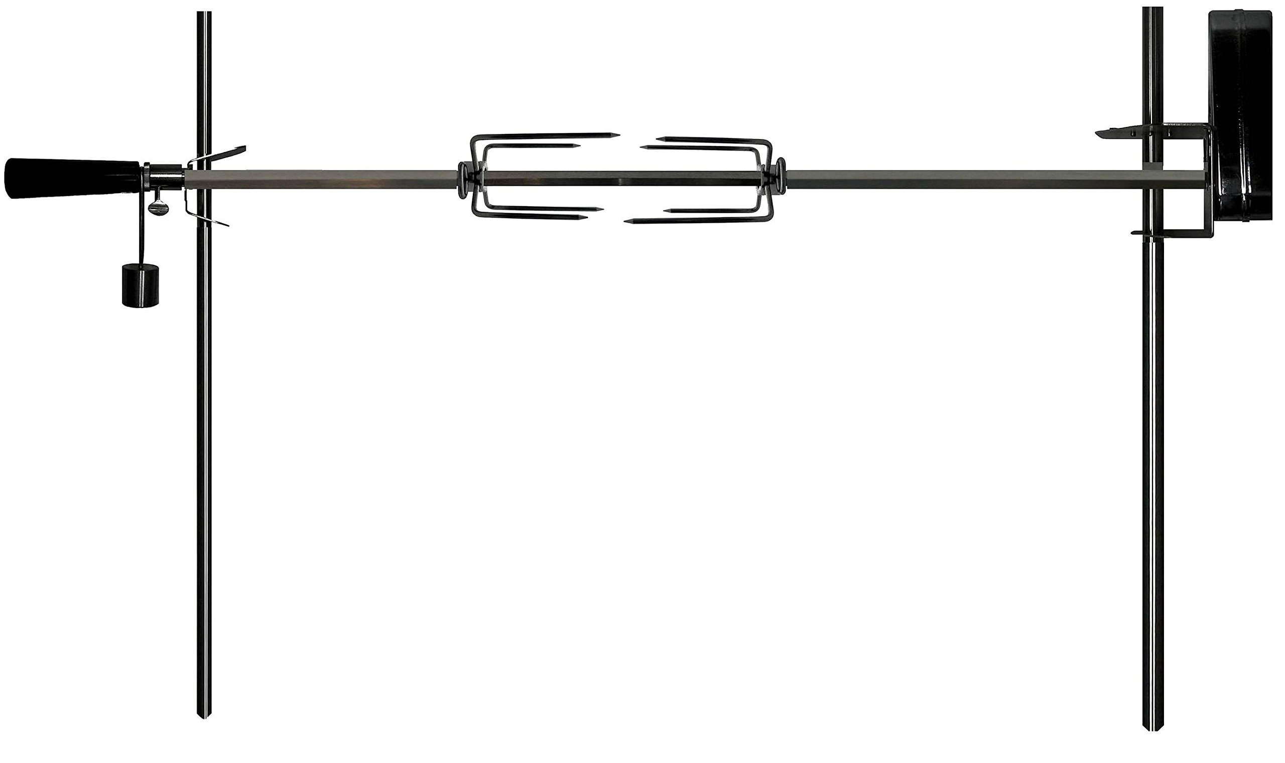 OneGrill Cordless Dual Post Open Fire Rotisserie System- 53 Inch Chrome (Matte Black Motor)