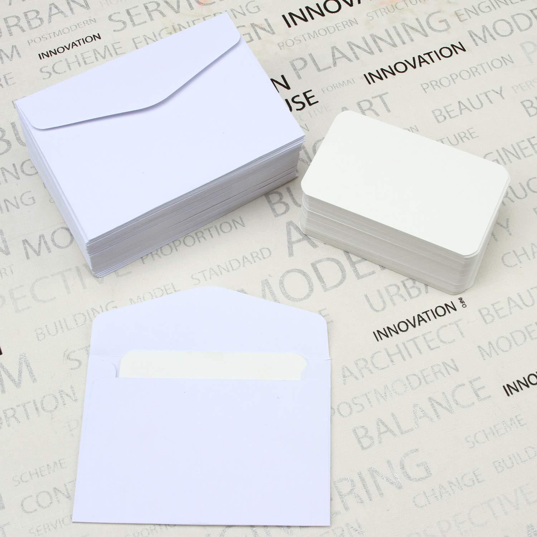 Elcoho Lot de 120 mini enveloppes avec 120 cartes de visite vierges blanches mariage f/ête danniversaire blanc Thanksgiving id/ée cadeau pour No/ël
