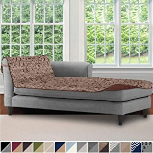 Sofa Shield Original Patent Pending Reversible Chaise Lounge Slipcover, 2 Inch Strap Hook, 102 Inch x 34 Inch Size Furniture Protector, Couch Slip Cover for Kids, Pets, Chaise Lounge, Dog Chocolate
