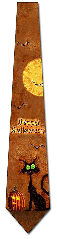 Happy Halloween Ties Black Cat Mens Pumpkin Necktie by Three Rooker