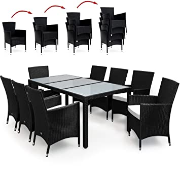 Amazon.de: Deuba® Poly Rattan Sitzgruppe 8+1 Schwarz | 8
