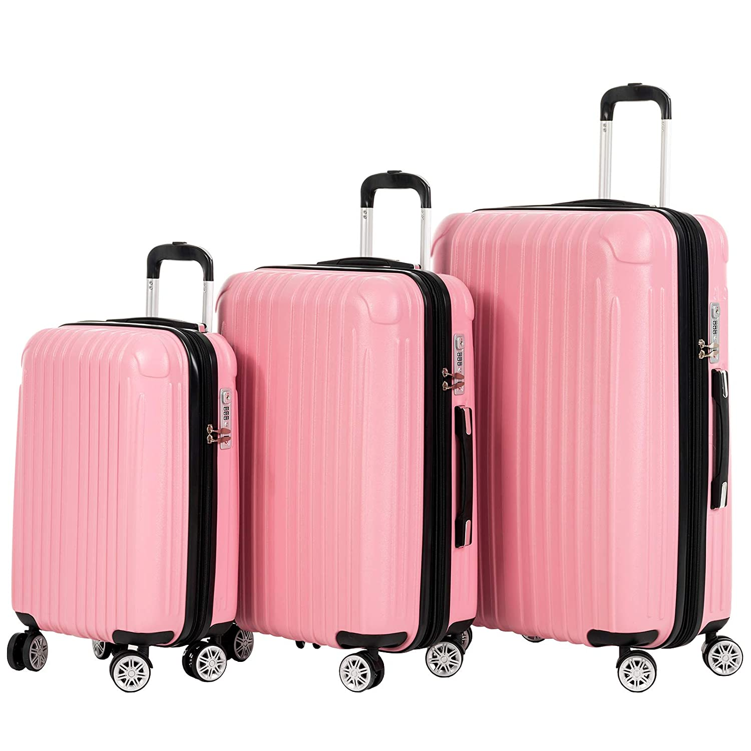 Expandable+TSA Lock 210D lining Murtisol 3 Pieces ABS+PC Luggage Sets Durable Spinner Suitcase 20 24 28 3PCS Black Durable Spinner Suitcase 20 24 28